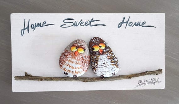 Unique Handmade 'Home Sweet Home' Owls | 3-D Artwork Made with Painted Pebbles, Stick and a Moon