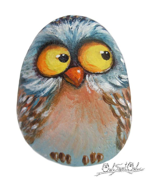 Unique Funny Owl Painted on a Sea Rock | Original Art by Owl Sweet Owl