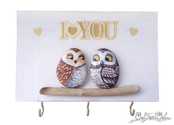 Unique Handmade 'I Love You' Owls Artwork | 3-D Painting Made with Painted Pebble Owls and Stick