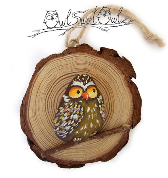 Unique Funny Owl Painted on a Sea Rock in a Tree Trunk Section | Original Art by Owl Sweet Owl