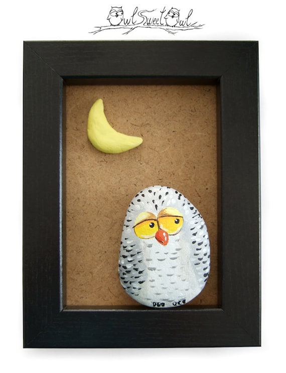 Unique Handmade Snowy Owl Artwork | 3-D Painting Made with a Painted Pebble, and a Moon Made of Clay!