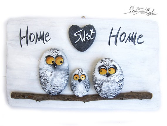 Cute Owls Illustration Handmade 'Home Sweet Home' Snowy Owls Family Painting | 3-D Artwork _ Cartoon Owls- Funny Owls- Owls Illustration