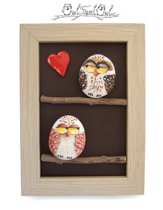 Unique Handmade 3-D Artwork with Owls in Love | Original Piece Made with Painted Pebbles, Heart of Clay and Sticks