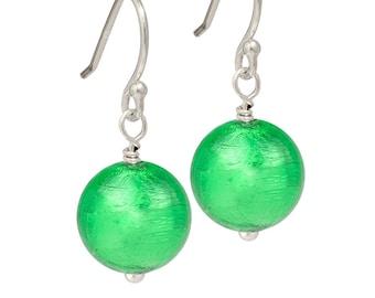 Venetian Glass Emerald Blue and Green Glass Drops Earrings with Silver Murano Silver Venetian Glass Drops Green Glass Drop Earrings