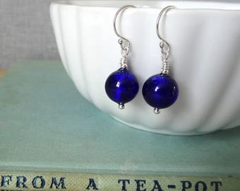 Cobalt Blue Murano Glass Earrings | Cobalt Blue Glass Earrings | Deep Blue Earrings | Sterling Silver Earrings