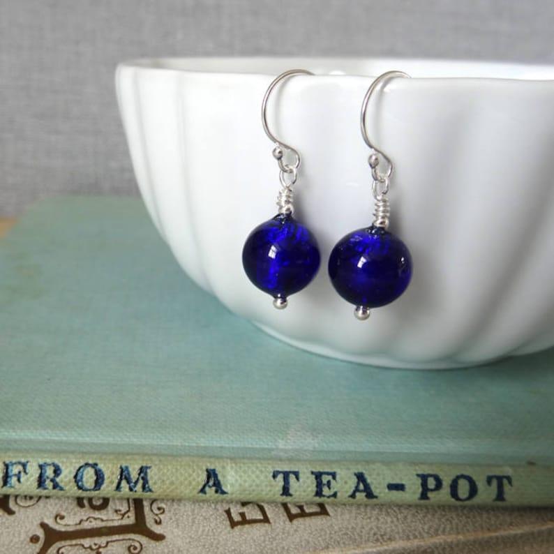 b7bf2d4f1 Cobalt Blue Murano Glass Earrings Cobalt Blue Glass Earrings | Etsy