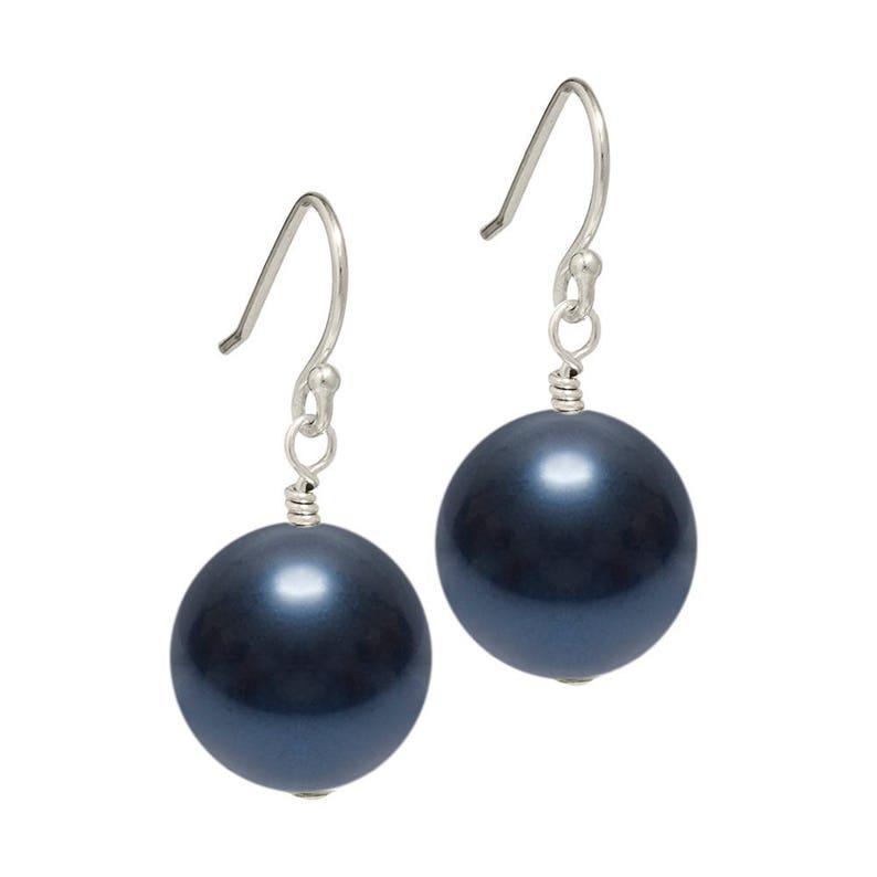 67fe75218 Dark Blue Pearl Drop Earrings Dark Blue Pearl Earrings | Etsy