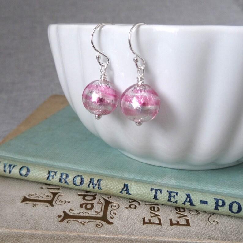 d81b8ff57 Pink and Silver Stripe Murano Glass Earrings Pink Earrings | Etsy