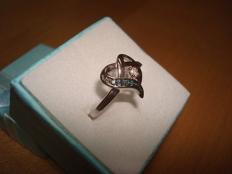 Genuine Blue And White Diamond 925 Sterling Silver Heart Ring Size 7.25
