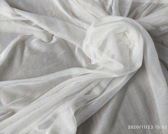 Pure silk tulle fabric white black gray navy by the yard DIY sewing apparel hat making fabric