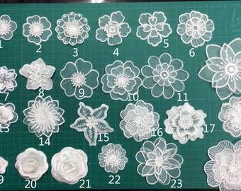Applique large flower white sequins silver beads lace co