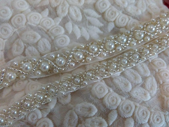 sewing beaded trim ivory beaded lace Beaded Trim-NEW bead vintage Ribbon 0004