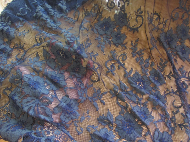 navy blue Chantilly Lace Fabric-150cm*150cm Eyelash Lace Trim Floral lace shawl navy wedding lace Wedding Table Decor