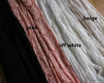 Blush Pink Eyelash Lace Fabric by the Yard or Wholesale for dress,bone lace fabric