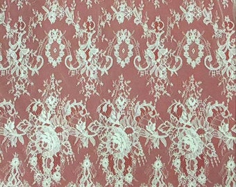 Corded eyelash  Lace Fabric, 59 inches Wide Chantilly lace  for Veil, Dress, Costume, Craft Making-corded Lace, off white lace-7157C