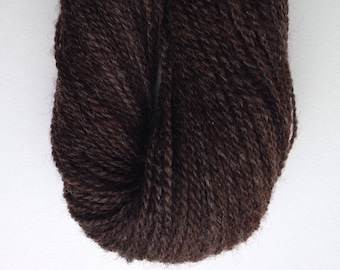 057 Handspun Natural Chocolate  Romney Yarn
