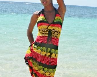 Handmade crochet dress 02 Jamaican Rasta colors.