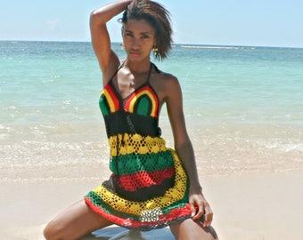 a333c40eb0d Handmade crochet dress 01 Jamaican or Rasta colors choice