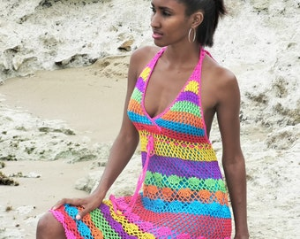 Handmade crochet dress 02 Multicolor