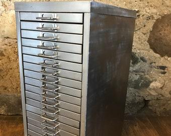 Industrial stripped metal 20 drawer filing cabinet storage