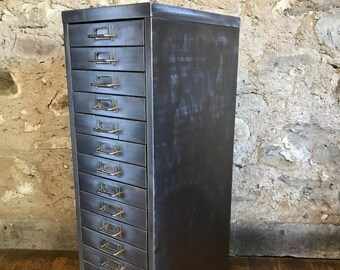 Industrial stripped metal 15 drawera4 size filing cabinet