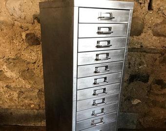 Vitnage industrial stripped metal 13 drawer filing cabinet