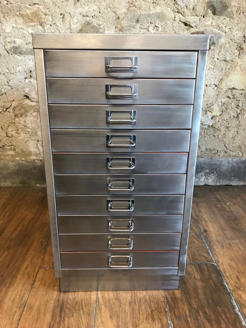 best service ae5a3 808f2 vintage industrial stripped metal 10 drawer filing cabinet a3 size