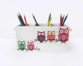 Owl Pencil Holder. Funny Colorful Desk Caddy. Wooden Desk Organizer. Kids Office  Decor. Pencil Cup Stationery Holder. Back To School Gift.