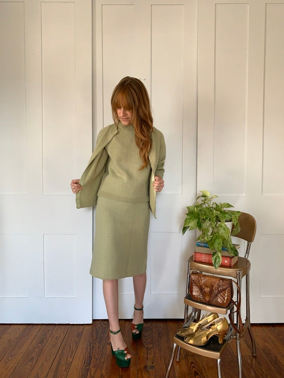 S/M 1950s Pistachio Green Knit Skirt and Sweater S