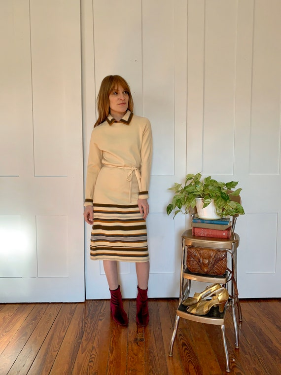 S/M 1970s Goldworm Knit Striped Dress