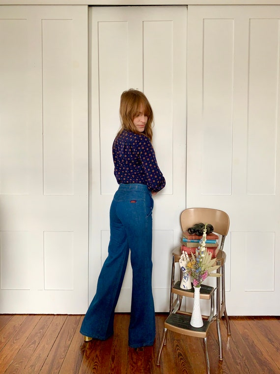 Xs 1970s Landlubber Denim Bellbottoms Blue Jeans
