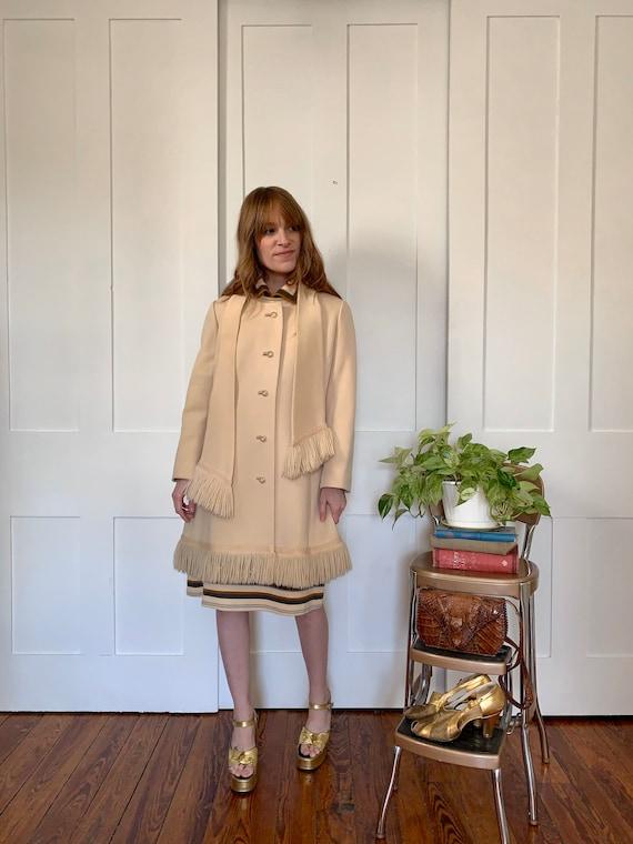 Vintage Lilli Ann Cream Fringe Coat and Scarf