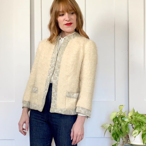 1960s Lilli Ann Ivory Boucle and Brocade Jacket