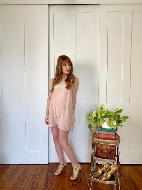 1930s Pale Pink Silk Lingerie Step In Romper