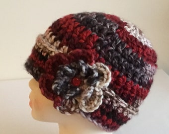 Toddler crochet beanie with flowers  522c33758415