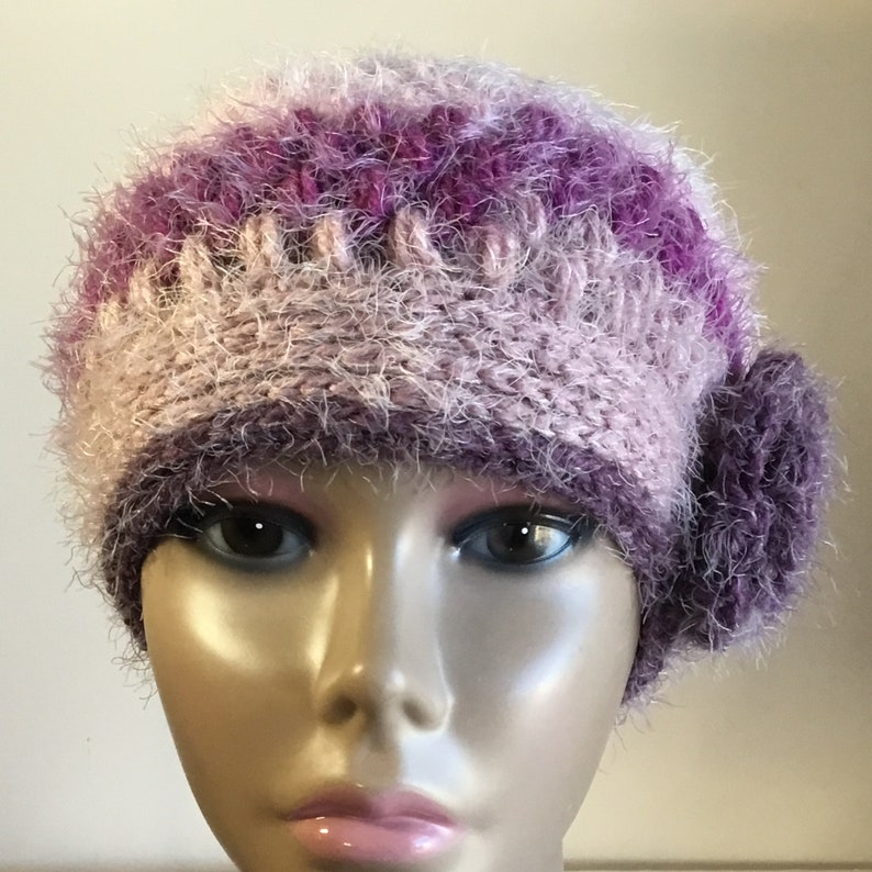 ACRYLIC Women/'s spiral ribbed beanie hat,cloche self striping purplepink heather removable flower brushed yarn Ready to Ship 365