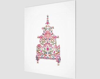 Chinoiserie - Pagoda - Pink Pattern - Fine Art Paper Print - 8 x 10