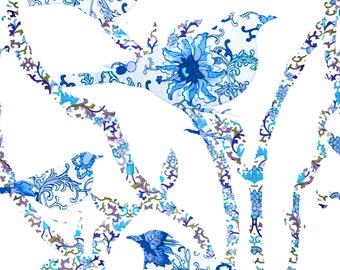 Floral Pattern Birds on Branches - Blue - Fine Art Paper Print - 8 x 10