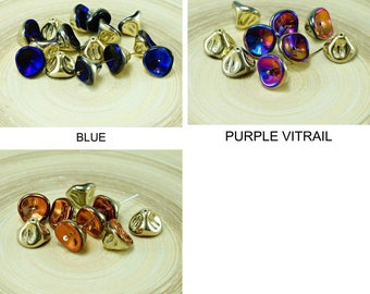 Iris czech glass large bell flower beads lily of the valley flower caps 8mm x 10