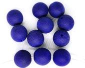 16pcs Matte Deep Midnight Blue Dark Cobalt Round Round Beads Czech Glass 8mm