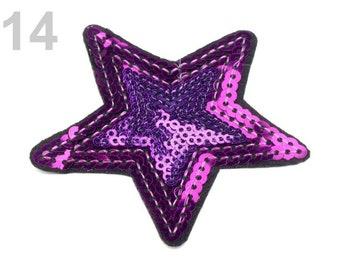 Wendepailletten Aufnäher Applikation Stern blau rot 23cm