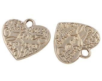 8e992d8b214f 2pcs de Oro de Color Plateado Corazón de Amor de Cuentas de Metal Colgante  de los Encantos Perlas de Bohemia checa Hallazgos de 24 mm x 23 m