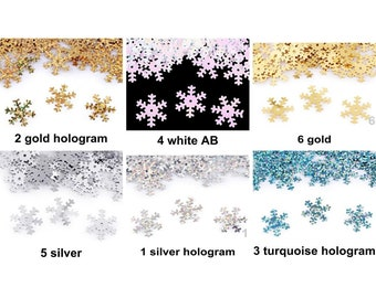 100 x 19mm Snowflake Sequins white AB