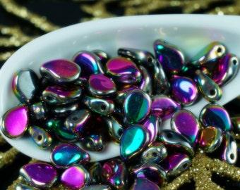 Hoja plana prensado Checa Perlas púrpura 12 X 7 mm paquete de 30