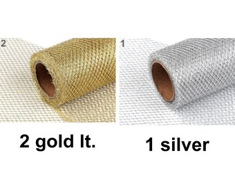 4.5m Wire Mesh Ribbon With Lurex Width 15cm Metallic Ribbons Haberdashery