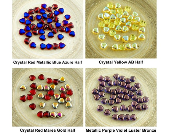 24mm 2 Acrylic Heart Beads Metallized Copper Colour