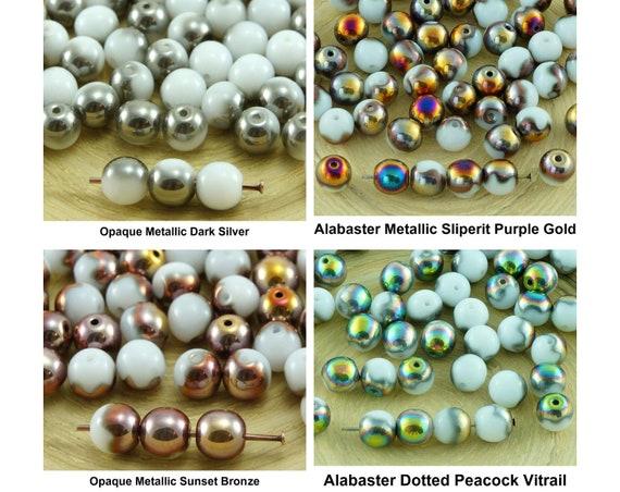 40pcs 10mm Opaque Round Czech Glass Druk Beads Black