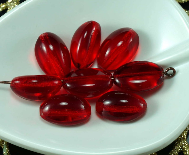 Clear Red Leaf Czech Glass Beads Carved Halloween 10mm x 9mm 30pcs