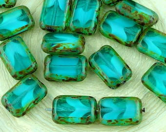 8pcs Picasso Brown Crystal Turquoise Aqua Blue Moonstone Moonlight Opal Table Cut Flat Rectangle Czech Glass Beads 8mm X 12mm