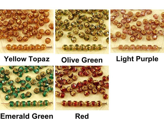 Pack of 20 Czech Glass Mini Beads Pressed Beads Ladybird White and Gold